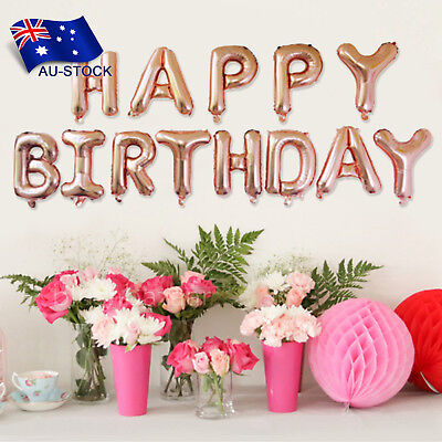 Happy Birthday Rose Gold Foil Balloon Hanging Banner Birthday Party Decorations