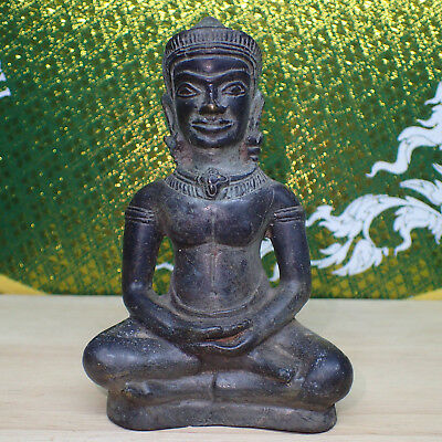 Antique Khmer Statue Rare, Lopburi 12th/13th Style Angkor Crowned Buddha Old