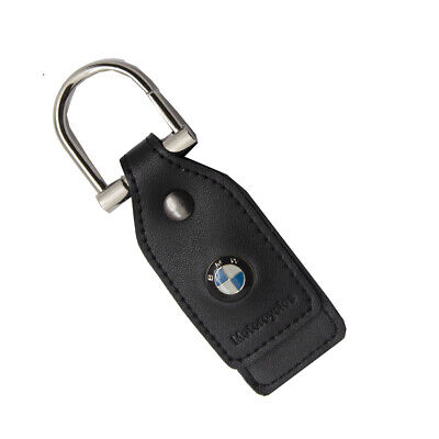 Genuine BMW Motorcycle Leather Everyday Key Chain with Silver Metal Ring - Black