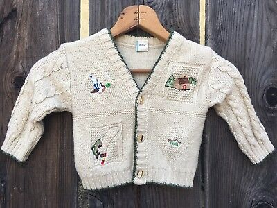 Vintage Country Cardigan Knit Sweater Size 18 Months / Country Fishing Cabin