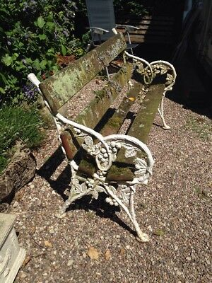 Victorian Cast Iron Decorative Country House Bench White