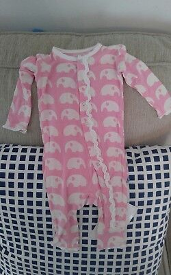 NWT Kickee Pants Pink Elephant Ruffle Coverall 0-3 months