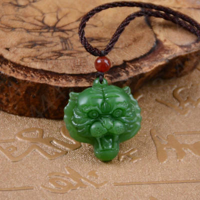 Green Jade Tiger head Pendant Necklace Fashion Charm Jewelry Lucky Amulet Hot