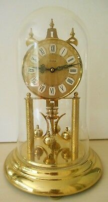 Vintage S Haller Simonswald Germany Mantel Dome Skeleton Anniversary Clock &Dome