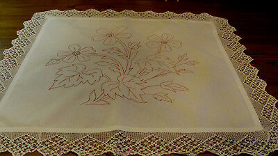 Vintage Embroidered Redwork Linen Layover Pillow Sham Table Topper 35x32 A7