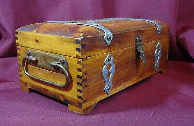 Antique Cedar Jewelry Box Handcrafted Finger Joint One of a Kind