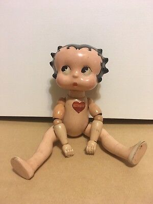 RARE Vintage 1930s BETTY BOOP wood composition jointed BABY DOLL figure cameo