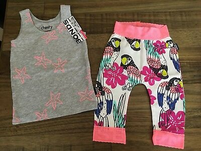 New Set Bonds Star Fish Chesty And Parrots Birds Leggings 00/0 Baby Girls BNWT