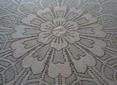 """Vintage Filo Arte' Embroidered Lace Tablecloth Tropical Floral Round 67"""""""