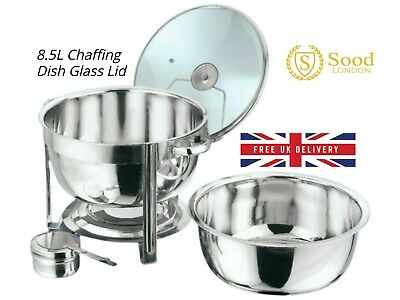 Round 8.5L Chafing Dish with Glass Lid/BUFFET DISH/PARTY FOOD WARMER