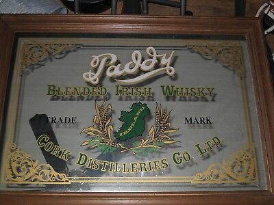 "Vintage Paddy Blended Irish Whisky Bar Mirror Huge 29"" x 41"" Den Man Cave"