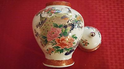 Satsuma Japan Peacock And Flowers Ginger Jar Urn Vase 1979 With Top