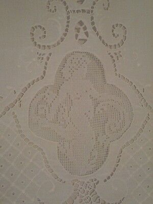 ~Stunning Antique French Linen Flat Sheet Embroidery Inset Lace Mint Heirloom~
