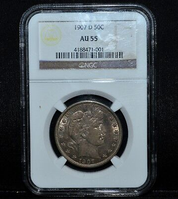 1907-D Barber Half Dollar ✪ Ngc Au-55 ✪ 50C Silver Almost Uncirculated ◢Trusted◣