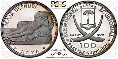 1970 Equatorial Guinea Silver Proof 100 P Goya Naked Maja Graded Pr69Dc Pcgs