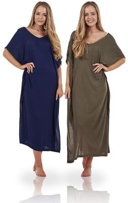 Ladies Plain Long Womens Kaftan Summer Cover Up Holiday Beach Dress