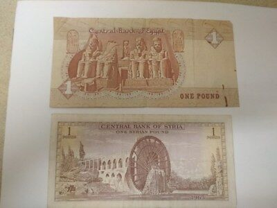 bill promissory note Banknotes 2 Syrian Pound -1963 and Egyptian Ponyar-1980