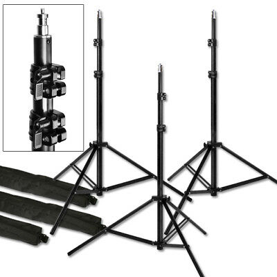 "3 Light Stands Pro 7'6""  Heavy Duty Photo Studio Photographic Light Stands USED"