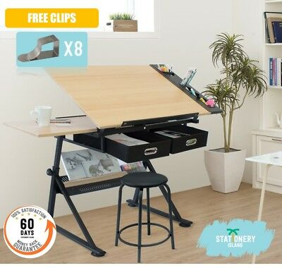 Stationery Island Adjustable Drafting Drawing Table W/Stool Craft Table Art Desk