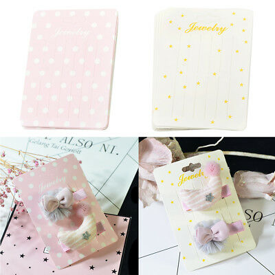 20pcs Cute Rectangle Paper Hair Clip Hairpin Barrette Jewelry Display Cards
