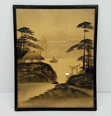 Vintage Antique Chinese Framed Wall Art Black & Gold Glass Print 12 x 10