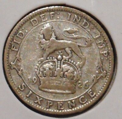 British Silver Sixpence - 1926 - King George V - $1 Unlimited Shipping