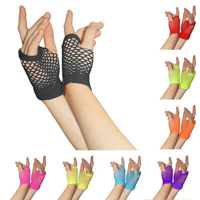 Women Girl Dance Party Neon Colours Fishnet Gloves Dressing up Fashion Accessory
