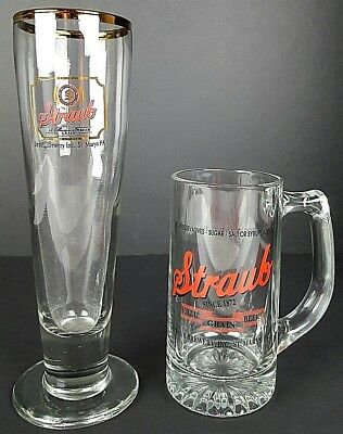 Straub All Grain Beer Glass & Mug St. Marys, PA Man Cave Bar Ware Advertisement