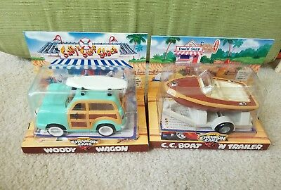 Chevron Cars lot of 2.  Woody Wagon and CC Boat n Trailer