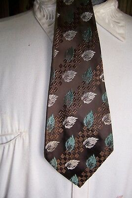vintage mens ties pre 1940' s stitched brocaded leaf drop beautie by towncraft