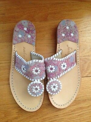 3d4a59b4d Jack Rogers Navajo Sandals Flat Printed Leather Thong Flip Flop Multi White  5