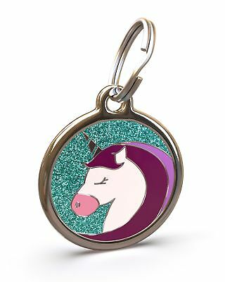 Pet Dog Cat ID Engraved Name Tag Personalised Stainless Steel Glitter Unicorn
