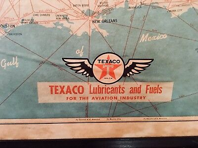Vintage TEXACO OIL LUBRICANTS AND FUELS 1956 Large Airline Map