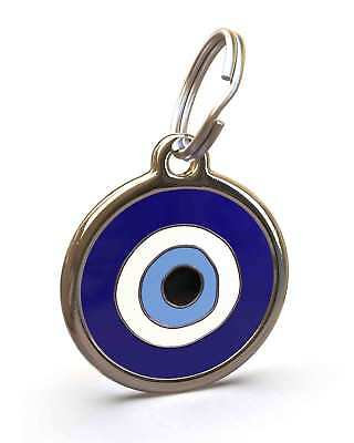 Pet Dog Cat ID Engraved Name Tag Personalised Stainless Steel Blue Evil Eye