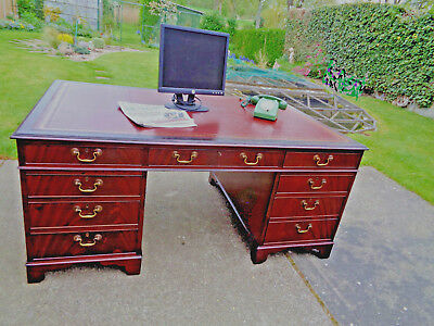 Double Sided Edwardian Mahogany Partners Desk Red Leather Top