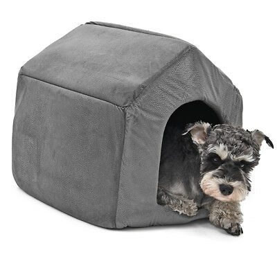 Grey M Pet Dog Cat House Igloo Bed Puppy Pad Beds Kennels with Mat Windproof Bed