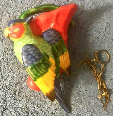 """Vintage Pottery Wall Pocket & Chain - Parrot with Lovely Bright Colors - 6"""" Tall"""