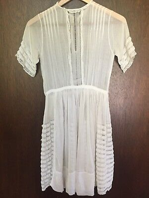 be479fd1ac0b VINTAGE 70S INDIAN Gauze Dress Embroidered White Lace Hippie ...