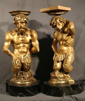 Pair of Gold Leafed Antique Wood Carved Pedestals Male Figures