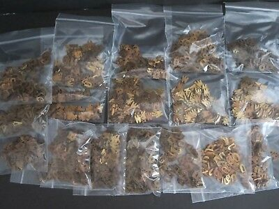 VINTAGE  OLD STOCK LOT OF BRASS/COPPER LETTERS FOR ARTS + CRAFTS, ETC. 1000's