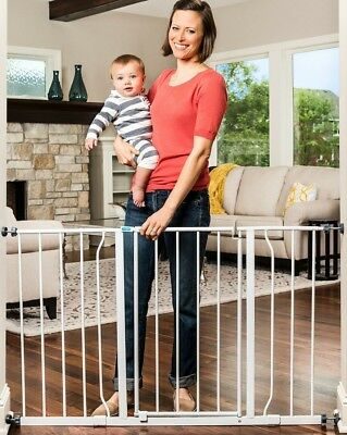 50 In. Extra Wide Baby Gate Pet Safety 2 Extensions Kits Included Pressure Mount