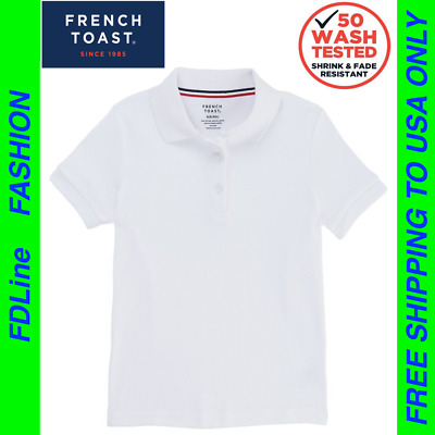 French Toast Girls' Short Sleeve Polo with Picot Collar T-shirt Top, Small 6/6x