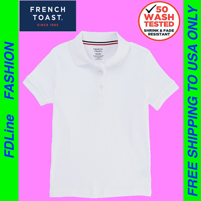 221dae08 French Toast Girls' Short Sleeve Interlock Polo with Picot Collar, T-shirt,