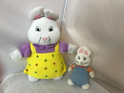 "Max and Ruby Plush Beanie Baby Toy Doll 12"" And 7"" Clean Rabbits Free Ship"