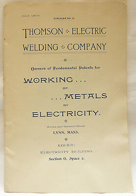 Rare Historic Antique Thomson Welding Brochure from Chicago 1893 World's Fair