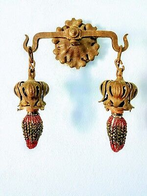 Antique Spanish Colonial Sconces Iron w Crystal Beaded Light Covers *Celebrity*