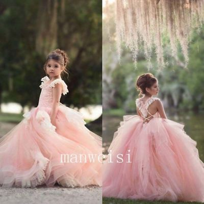 bcd8ef7992f Pink Lace Flower Girl Dress Sleeveless Princess Cute Party Pageant Ball  Gowns