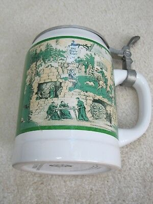 Old Style Brewing Co 1995 collectible beer stein with pewter top