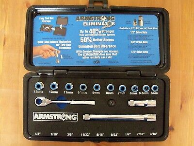 "Armstrong Eliminator Ratchet/Socket Set - Metric 1/4"" Drive Pass Thru - 42-221"
