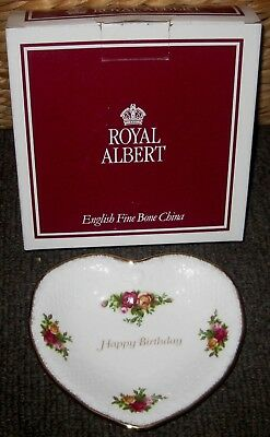 """ROYAL ALBERT Old Country Roses """" HAPPY BIRTHDAY """" HEART SHAPED DISH*NEW IN BOX*"""